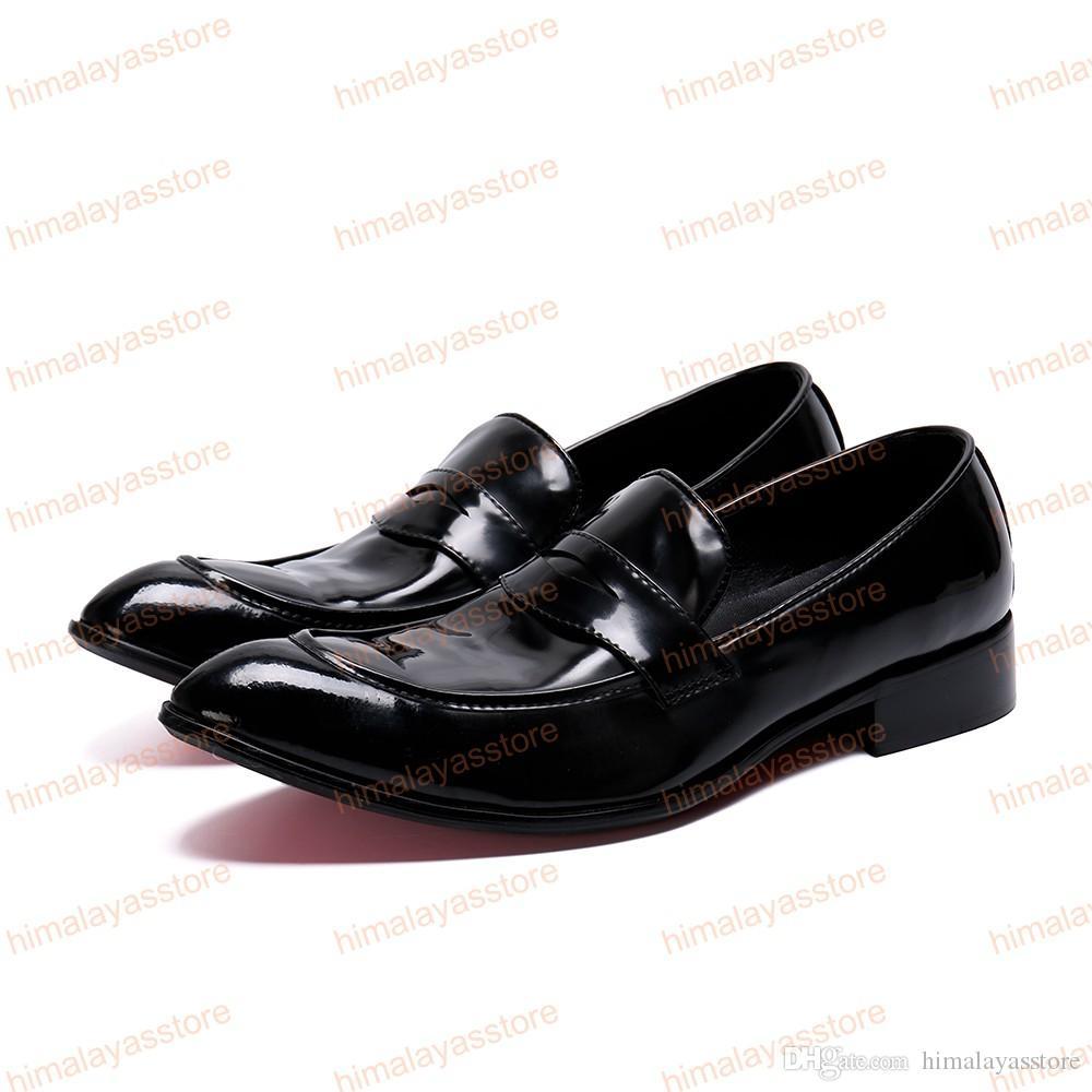 New Fashion Semplicità Scarpe da uomo in vera pelle da uomo Slip On Roud Toe Abito formale da uomo Scarpe basse