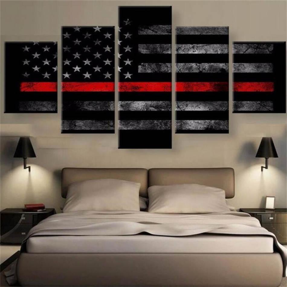 Drapeau américain, 5 Impression toile Pièces HD Nouvelle Maison Décoration Art Peinture / (Unframed / encadré)