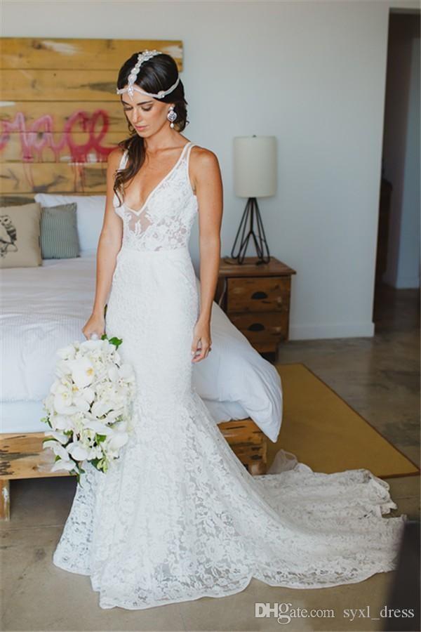 Smoothest 2019 PLUS Размер Полное кружевное Boho Mermaid Свадебные платья свадебные платья свадебные платья свадебное платье невесты платье халат De Mariee Deep V-образным вырезом
