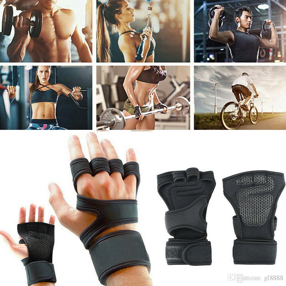 2019 Новый мужской неопрена Спорт Фитнес Велоспорт Gym Половина Finger перчатки Упражнение Тяжелая атлетика Обучение тренировки наручные перчатки