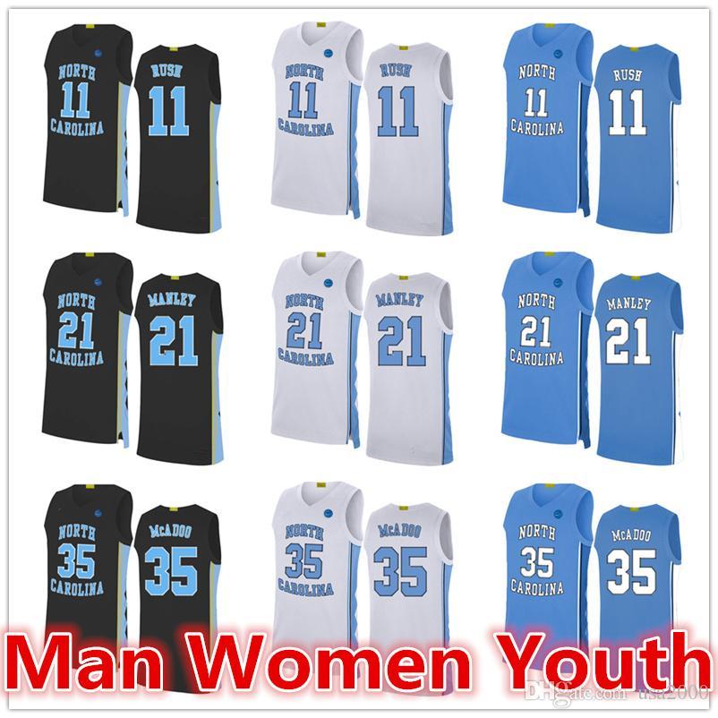 2020 custom made North Carolina basket maglie Ryan McAdoo 35 Shea Rush 11 Sterling Manley 21 Maglia qualsiasi nome numero di dimensioni S-5XL