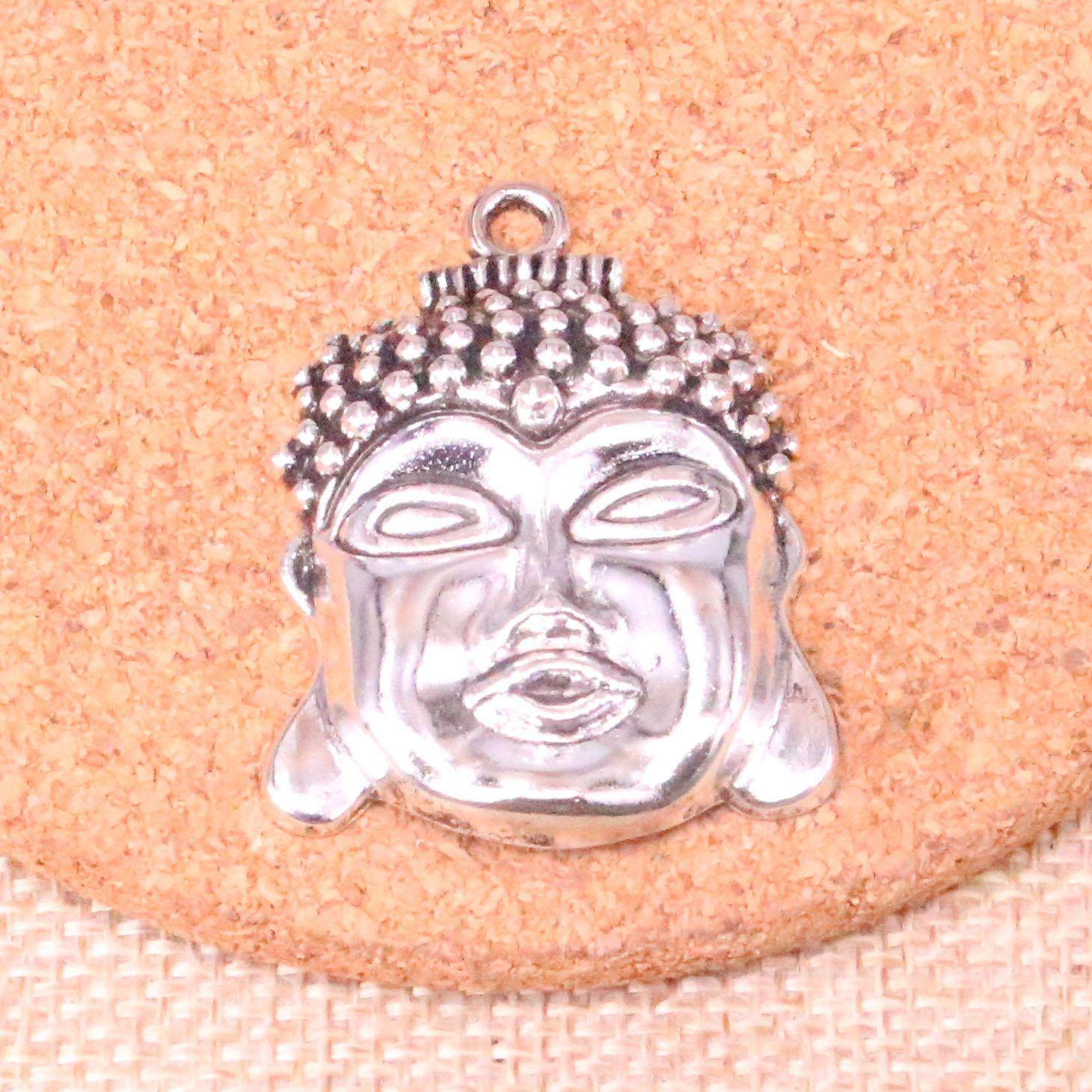 21pcs tête buddha argent antique Pendentifs Charms Fit Bracelets Collier bricolage Bijoux Métal Faire 40 * 30mm