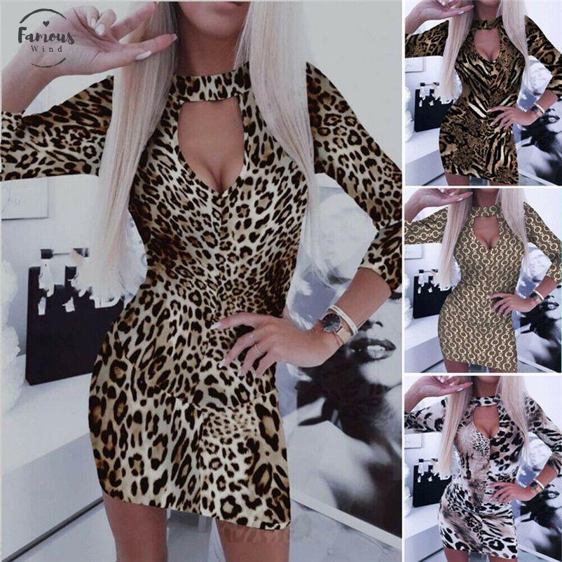 Frauen reizvoller tiefer V-Ausschnitt Langarm Bodycon Minikleid Damen-Schlangen-Haut-Leopard-Druck-Kleid Clubwear Abend-Kleider kurz