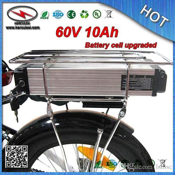En iyi Prcie 60 Volt Elektrikli Bisiklet Ebike Pil 60 V 10Ah Li-Ion Pil ile Arka Raf 15A BMS 18650 cep Alüminyum Kasa + Şarj