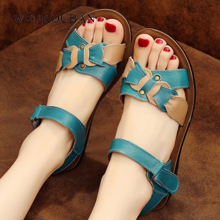 Casual Genuine Leather Sandals Women Wedge Sandals Platform Summer Shoes Ladies Sandalias Beach Shoes Chaussures Femme Size 43 Y190706