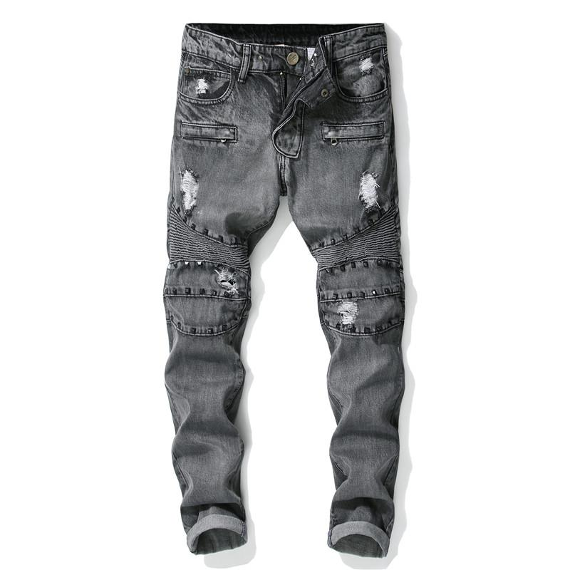 2019 Punk Style New Men's Fashion Holes Rivet Patchwork Jeans Gray Zipper Casual Slim Jeans Classic Trousers Denim Pants Male