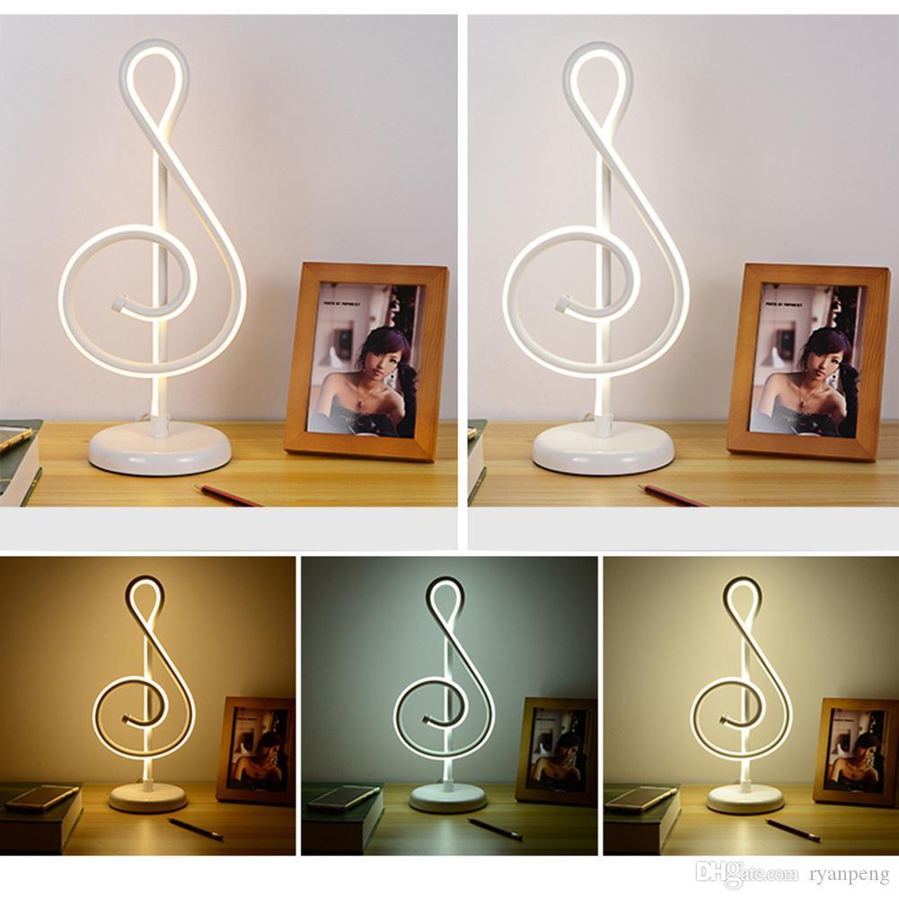 Acheter 17W Moderne Dor Note De Musique Chambre Chambre Artistique Accueil  Salon Lampe De Bureau LED De Chevet Décoration Veilleuse Cadeau Pour La