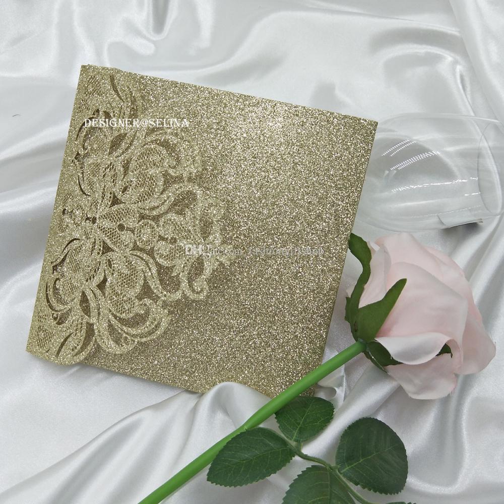 2019 convite do casamento Luz do brilho do ouro Laser Corte com cartão de RSVP, Convites bolso para Quinceanera de aniversário do doce 16 Convite
