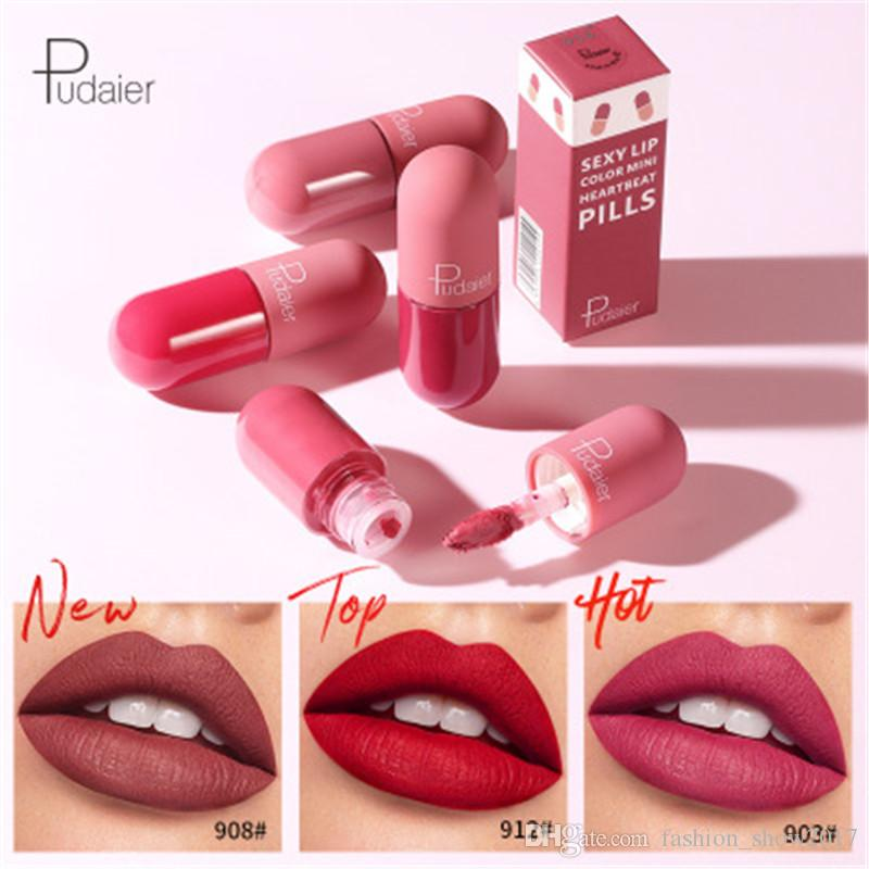 Pudaier de ultra Mate Brillo de labios 18 colores Velvet maquillaje nude líquido impermeable Pintalabios Lip Tint suaves Lipgloss Cosméticos Labios