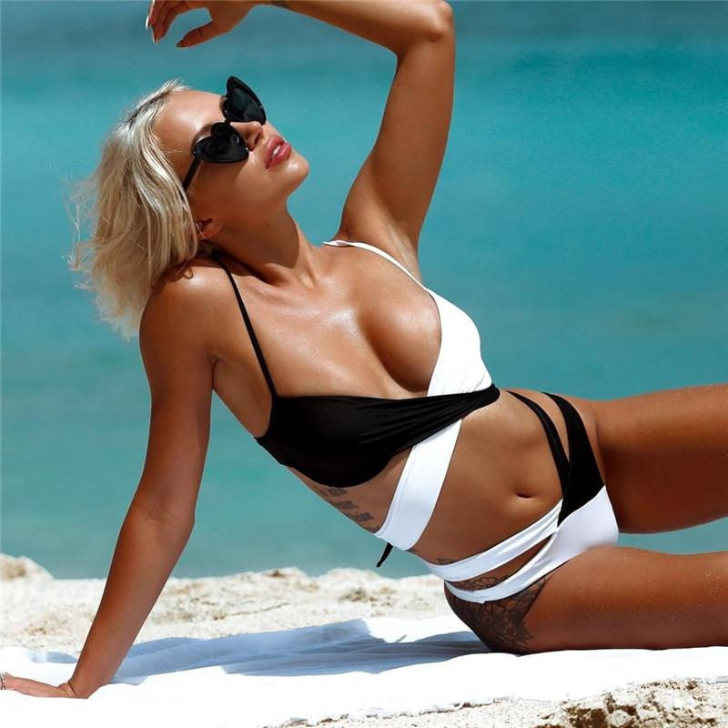 2020 Sexy Cross Bandage Swimsuit Women Bikini 2020 Black White ...