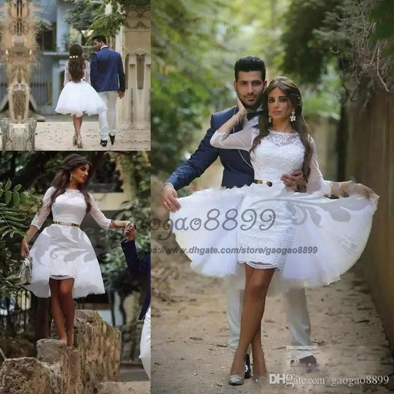 Sexy Two Pieces Wedding Dresses Knee Length With Detachable Train Sheer 3/4 Long Sleeves Bridal Gowns Lace Tulle Cheap Short Wedding Dresses