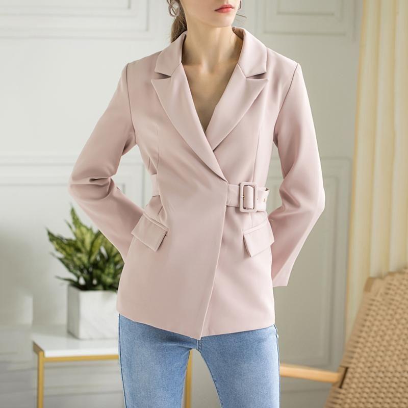 Solide dünne lange Hülsen-elegante Klage-Mantel-Frauen Schärpen Rosa Blazer-Jacken-Arbeits-Büro-Damen koreanische Kleidung 2020 Herbst New