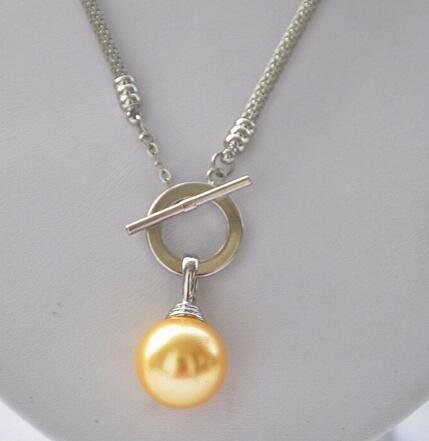 Prett lindo casamento das mulheres frete grátis 16mm amarelo rodada mar do sul da pérola colar de pingente de 17 polegadas (z5297)