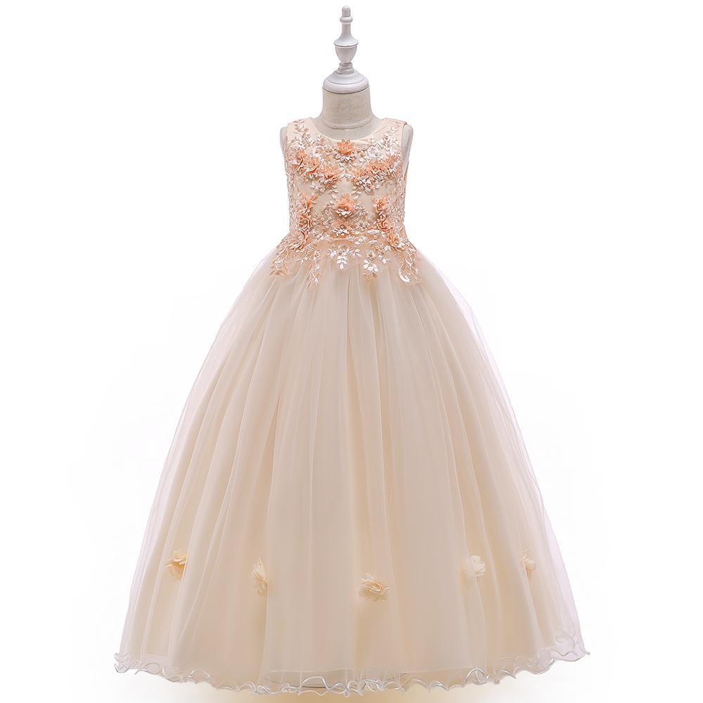 소매 새로운 디자인 여자 자수 롱 볼 드레스 드레스 키즈 소녀 파티 드레스 첫 성찬식 웨딩 드레스 Lp - 212 Y19061801