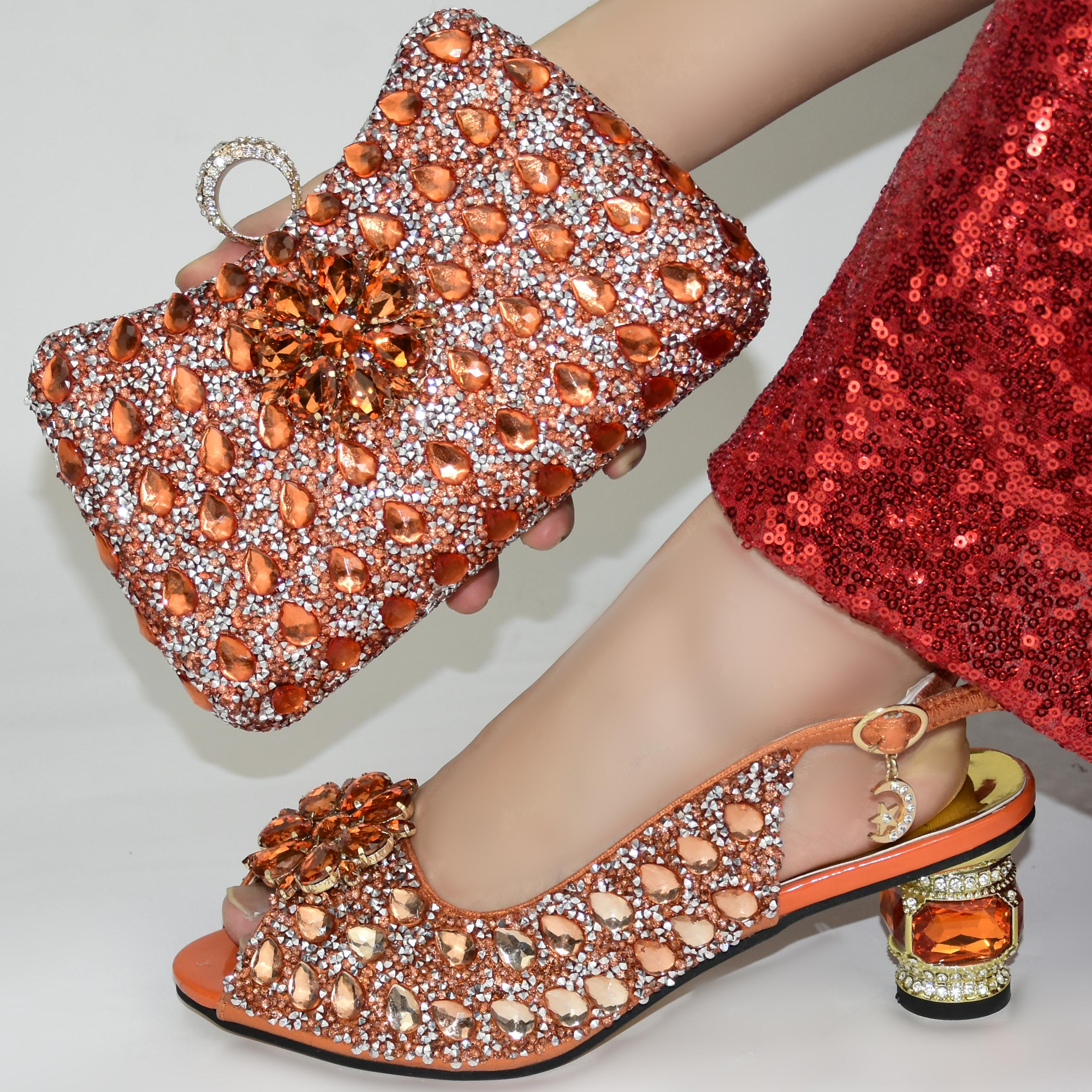 fashion orange Italian Shoes With Matching Bags African Women Shoes and Bags Set For Prom Party Summer Sandal! GR1-6
