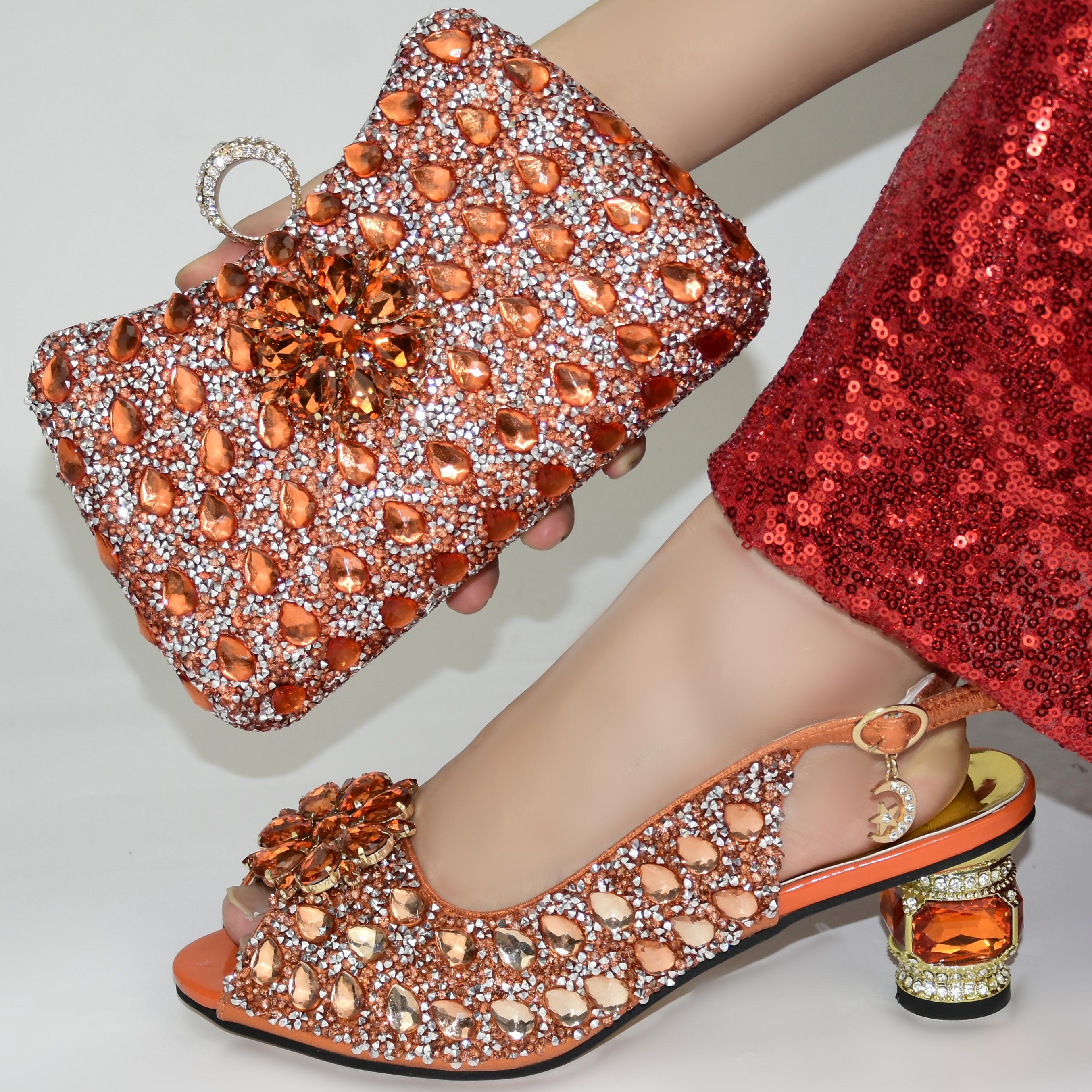 moda arancione Italian Shoes con i sacchetti di corrispondenza africana Scarpe e Borse Set per il partito di promenade estate sandalo! GR1-6