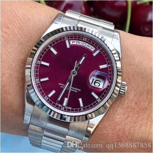 Rose Gold Men Geneva Steel Roma Dial Favour Automatic Mens Day Date Fashion Designer Watch WristWatches montre free shopping