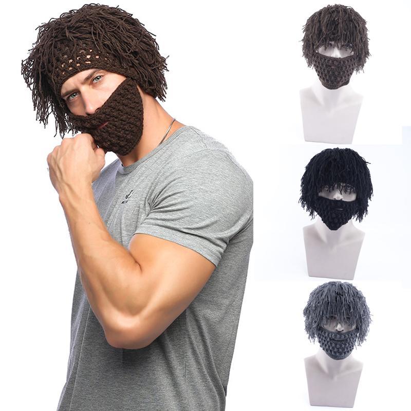 3-farbe kreative stroh männer strickmütze herbst- und winter handhaken abnehmbare wolle bart lustige perücke hüte