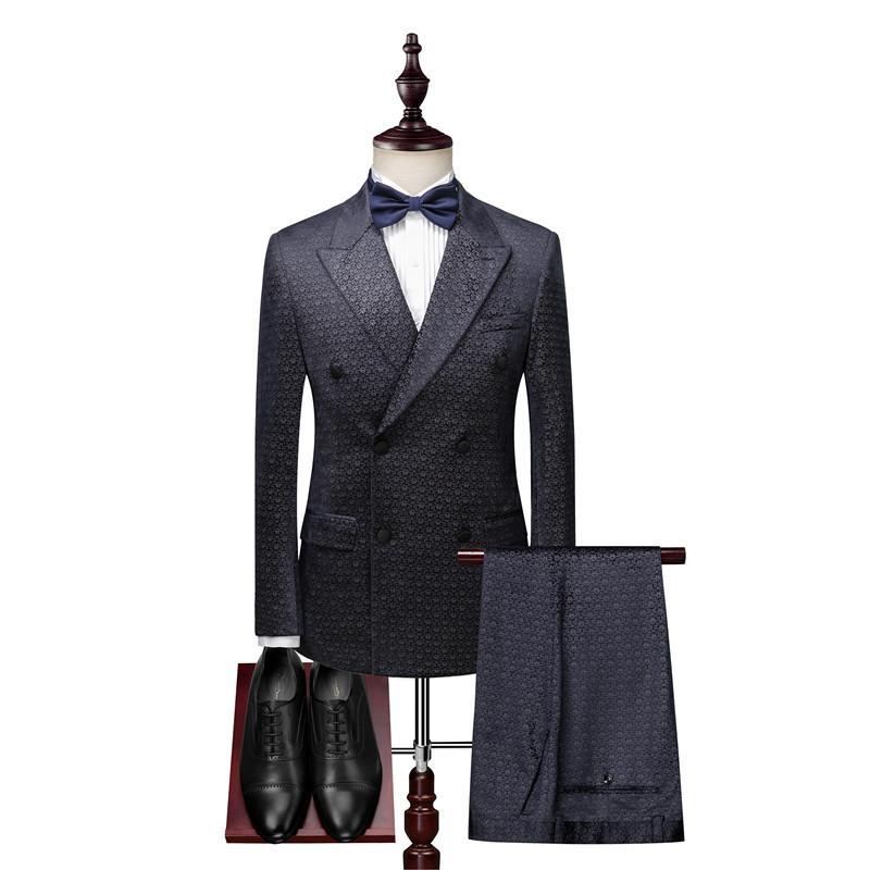 cavalheiro impresso ternos trespassado terno dos homens dos homens blazer 3 peças com calças colete bola banquete ternos formais vestido dos homens