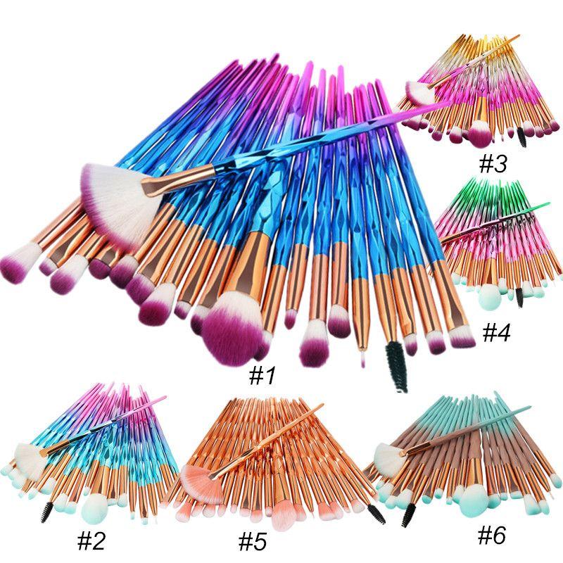 El maquillaje profesional cepillo del sistema de 20pcs Diamante Ventilador polvo de la fundación del cepillo Blush mezcla de sombra de ojos de labios cosmética de maquillaje de ojos cepillos Kit de herramientas