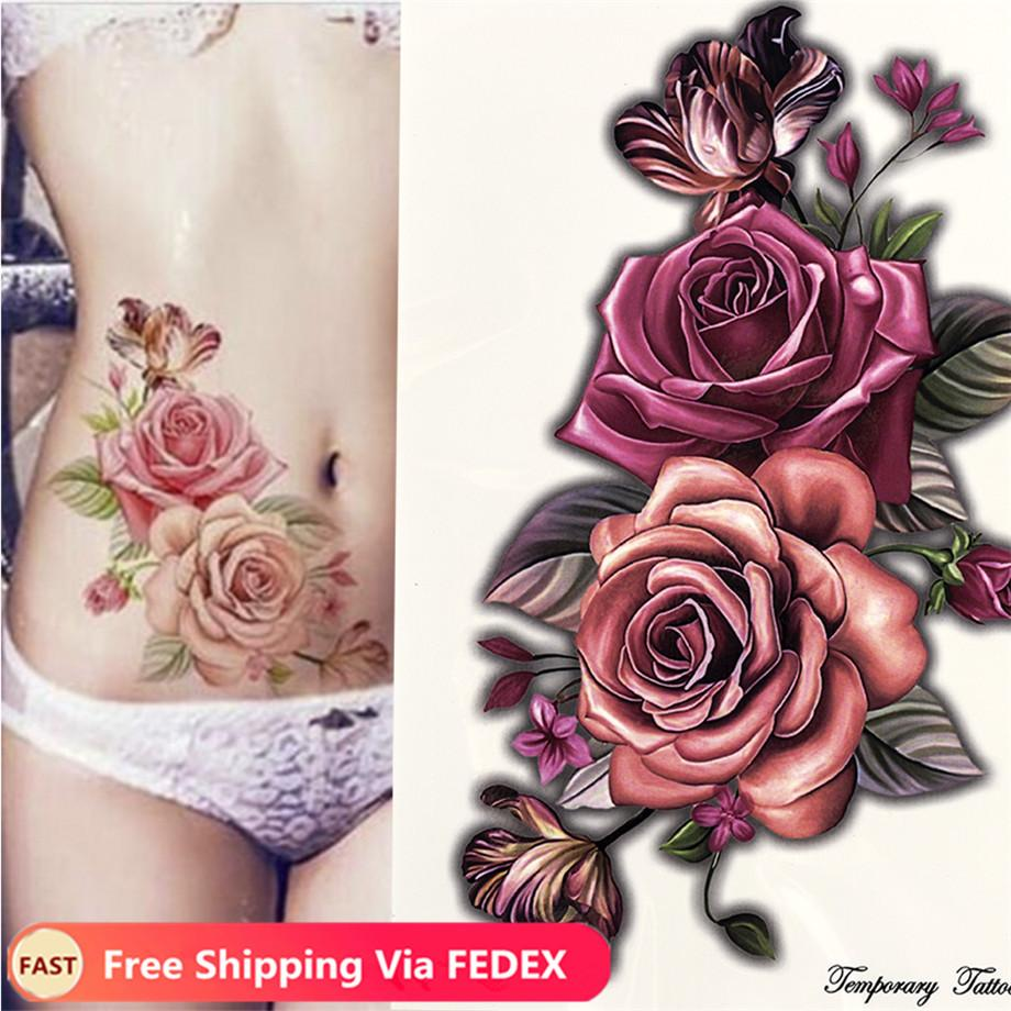 Schönheit bilden gefälschte temporäre Tätowierung-Aufkleber Rosen-Blumen-Arm-Schulter-Tätowierung wasserdichte Frauen Big Flash Tattoo auf Körper