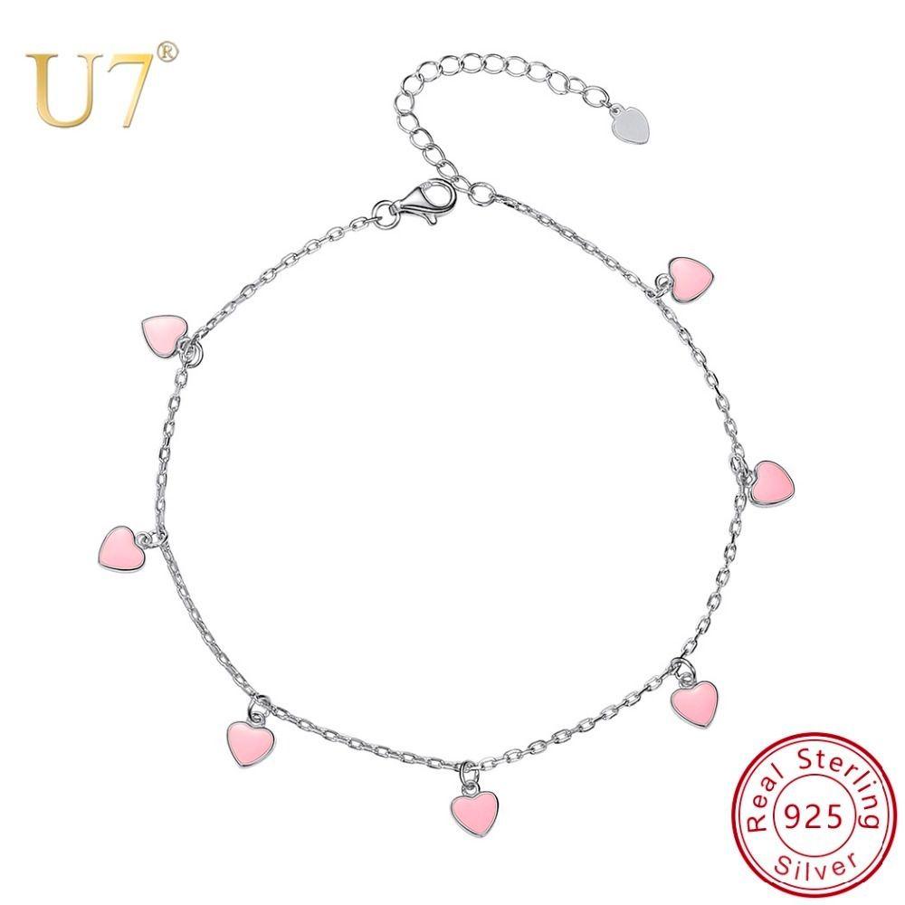 U7 925 Ayar Gümüş Yaz Sevimli Şeker Renk Ayak Bileği Pembe Emaye Kadınlar Için Kalp Halhal Bacak Bilezik Takı Ayak Zinciri A331 C19041101