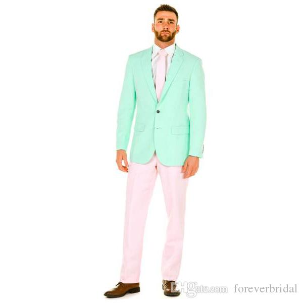 Mint Green Two Button Groom Tuxedos Peaked Lapel Men Suits Wedding/Prom/Dinner Best Man Blazer(Jacket+Pants)