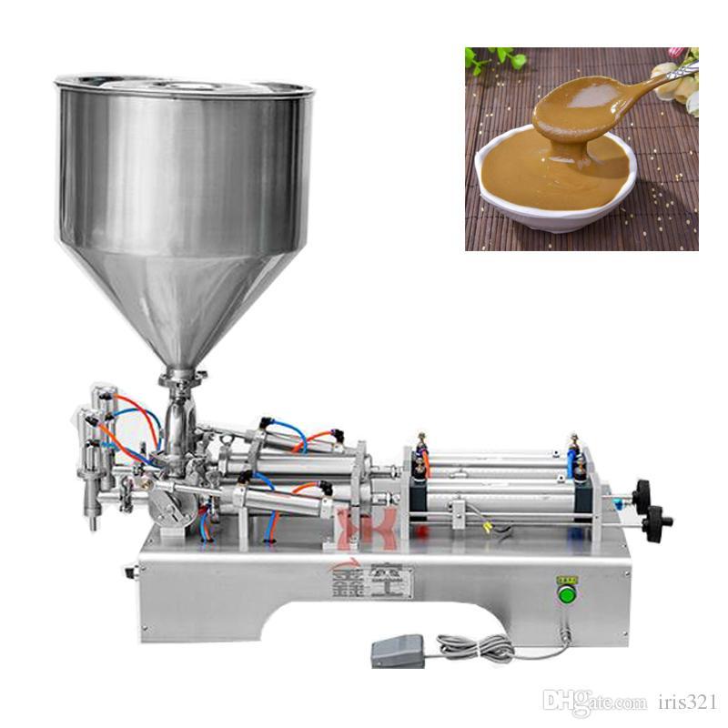 Máquina de llenado neumática de escritorio de acero inoxidable Ketchup Mantequilla de maní Pasta de aceite de oliva Líquido Máquina de llenado cuantitativa de doble propósito