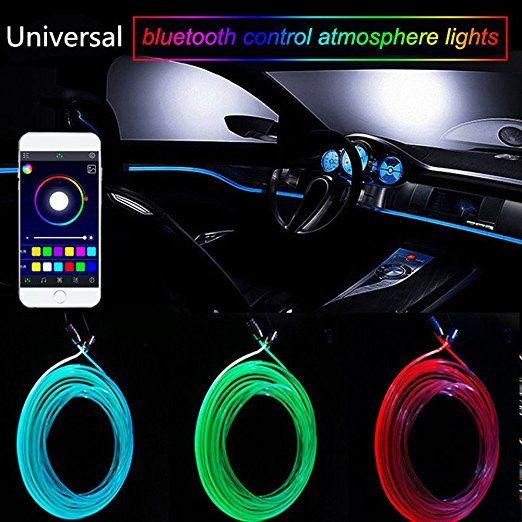 Новый Звук Активный EL Неоновый Провод Полосы Света RGB LED Салон Автомобиля Многоцветный Bluetooth Телефон Управления Атмосфера Свет 12 В Комплект