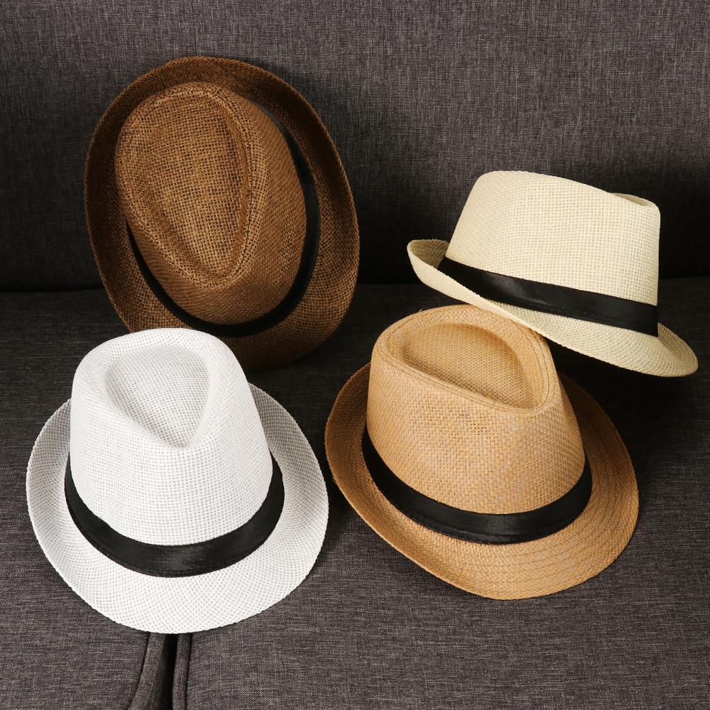 Cowboy Hat Summer Wide Brim Mens Womens Sun Hat Panama Hat Jazz Tied Adjustable