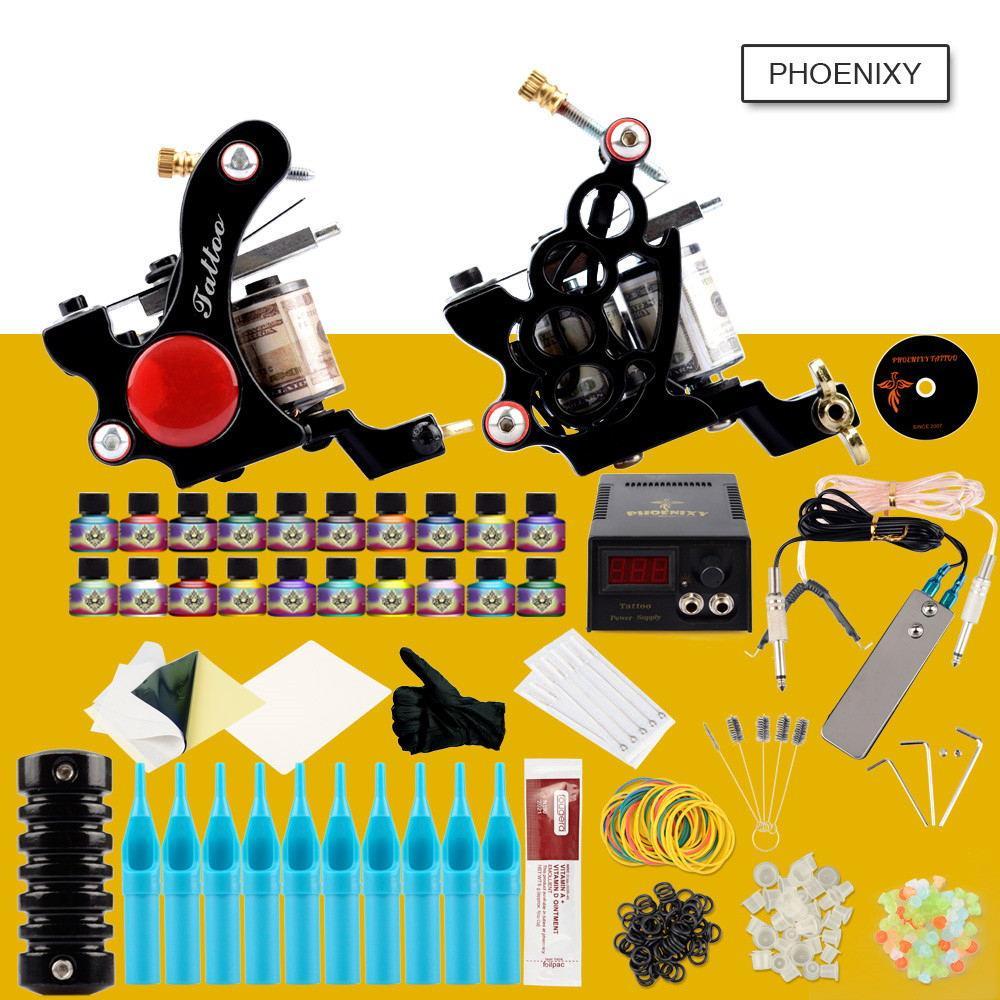 전체 문신 키트 2 개 문신 기계 총 20PCS 잉크 세트 LCD 전원 공급 장치 바디 아트 도구 세트 영구 메이크업