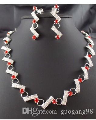 orecchini caldi 14.8y della collana delle donne di cristallo del diamante di cerimonia nuziale della sposa di alta qualità 2set / lotti di vendita calda di modo basso prezzo