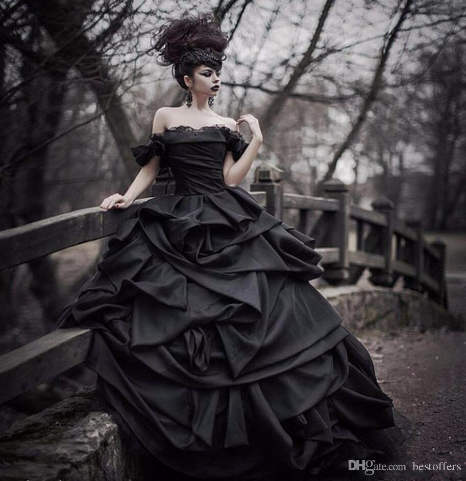 Горячие Vintage бальное платье готические черные свадебные платья плеча оборками драпированные многоуровневого Юбка Люкс Свадебные платья на заказ Плюс Размер