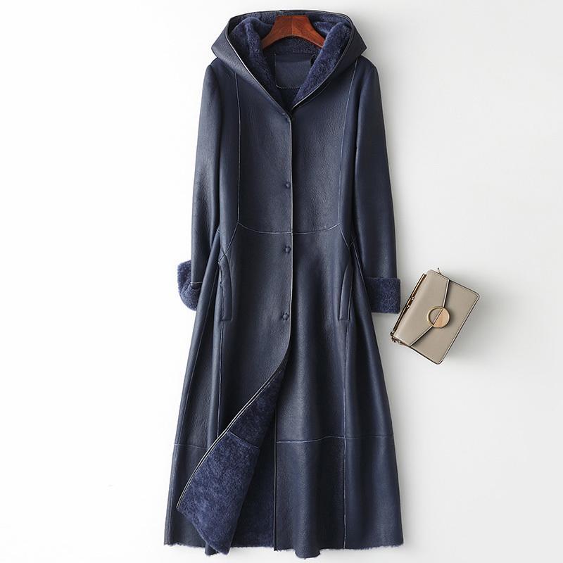 Frauenpelz Faux Real Mantel Weibliche Echtes Leder Jacke Herbst Winter Frauen Kleidung 2021 Koreaner Vintage lange Schaffell Tops ZT4266