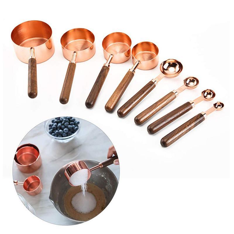 ارتفع الذهب الفولاذ المقاوم للصدأ قياس الكؤوس والملاعق لمكونات السائل الجاف مطبخ طبخ قياس أداة JK2001