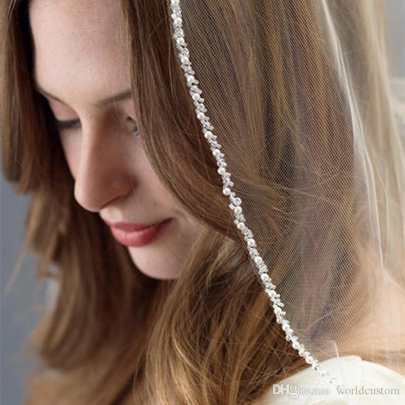 Nouvelle haute qualité délicate nuptiale élégant Veils une couche de perles bord Blanc Longueur d'Ivoire Fingertip Meidingqianna Marque alliage peigne