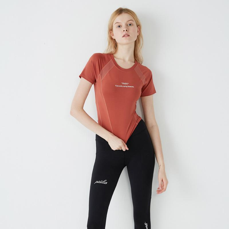 Kadın Seksi Yoga Tişört Sorunsuz Spor Kısa Kollu Egzersiz Fitnes Salonu Üst Kadınlar Hızlı Kuru Fit İnce Spor Gömlek Yoga Mahsul Üst