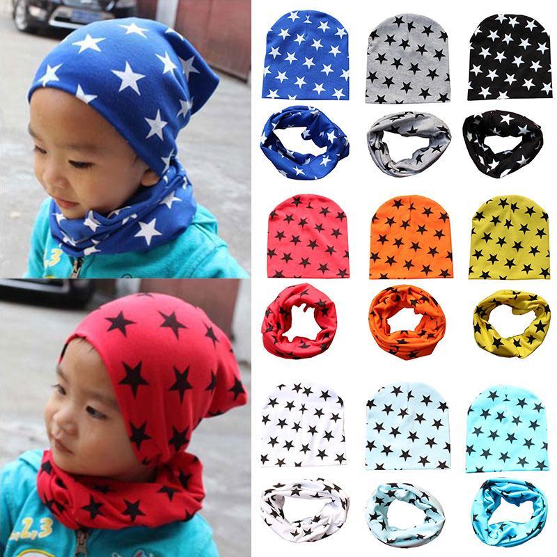 Autumn 1 Set Girl Crochet Children Hats Scarf Collars Kids Hat Hot Sale Cap Winter Beanie Toddler Boy Baby Hat Infantiles