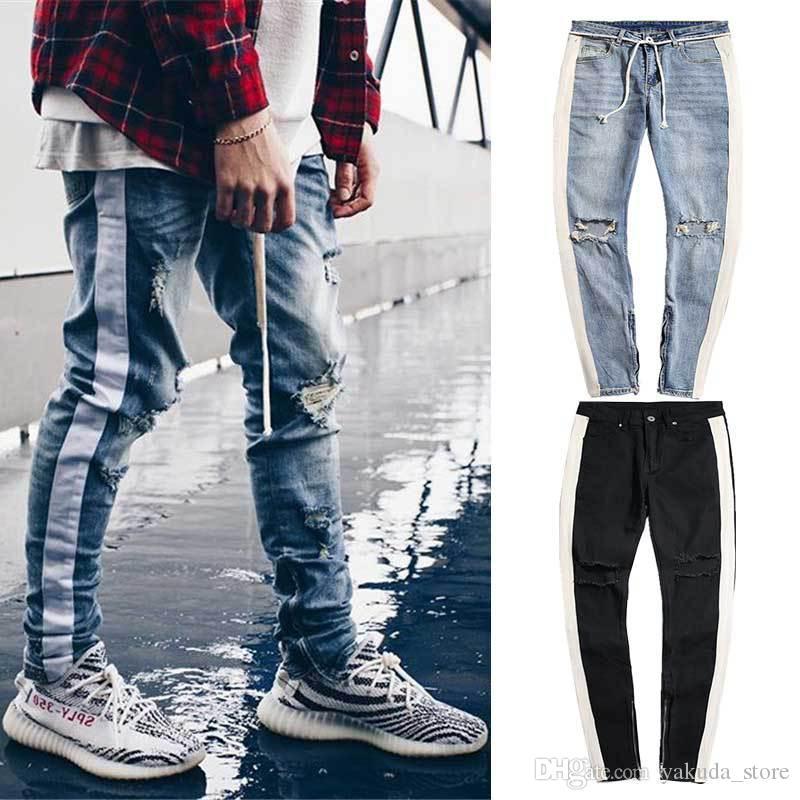 Compre Jeans Con Cremallera Lateral En La Rodilla Para Hombres Jeans Desgastados Delgados Slim Justin Bieber Pantalones Rasgados Rasgados Jeans Para Hombres Pantalones Lapiz Pantalones Mas Vendidos A 26 68 Del Yakuda Store