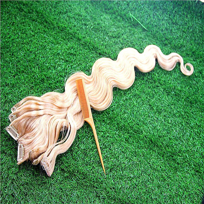 Puer Cor onda do corpo 100% grampo em extensões do cabelo humano 7A brasileira Remy cabelo 7pcs / Set 100G 10-36 pulga