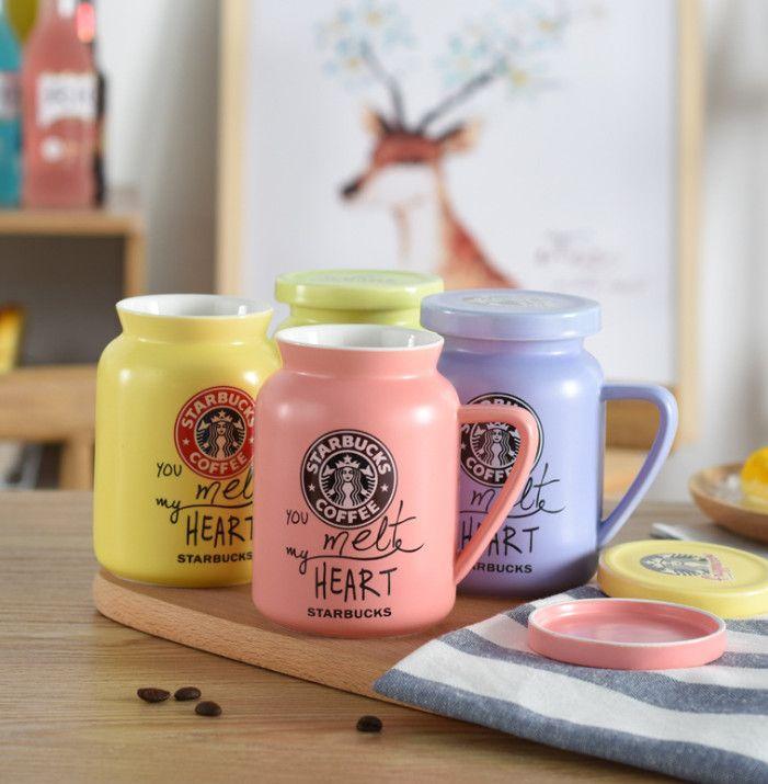 أحدث 14.2oz Starbucks القدح السيراميك الكرتون نمط زوجين كأس الحليب الإبداعي، يأتي مع غطاء، يدعم التخصيص