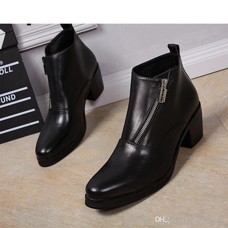 Compre 6.8cm Botas De Tacón Alto Hombre Botas Formales De Cuero Suave Corto Caballeros Vestido Botas De Fiesta Y Negocios Botas, Tamaño 38 46 A