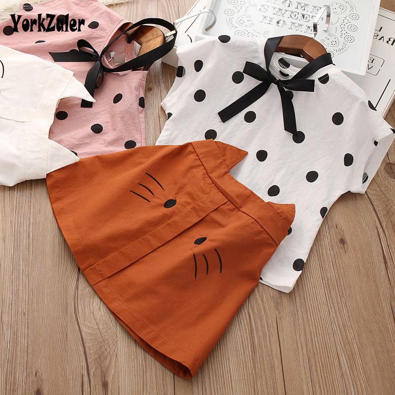 Yorkzaler 여름 아이 옷 세트 여자 아기 2 개 세트 도트 셔츠 만화 고양이 스커트 패션 어린이 여름 의상 SH190912