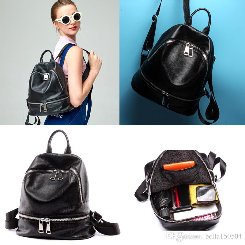 O ENVIO GRATUITO de estilo Europeu marca mochila de couro Genuíno designer multi-bolso pacote mochilas unisex bolsa de viagem popular saco
