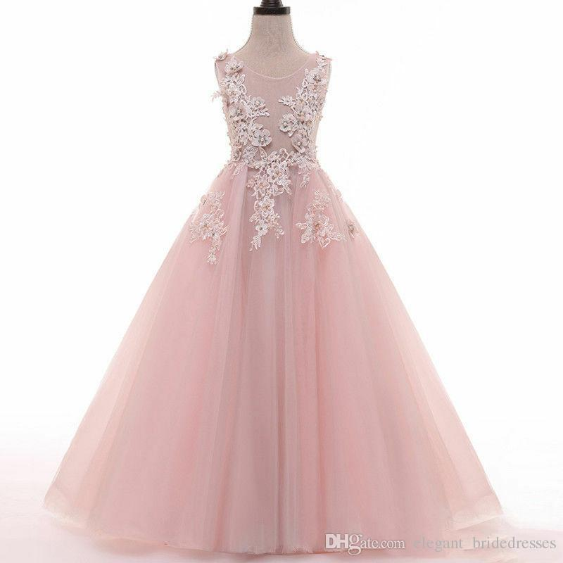 Lentejuelas Baby Pink Flower Girls Vestidos Sweetheart Bow Back Tutu Falda Princesa A Line Vestidos de fiesta