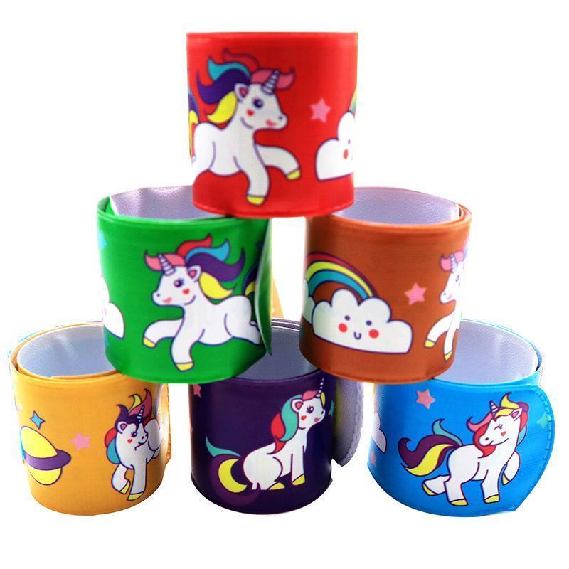 PVC Bangles Cartoon Unicorn Pattern Wristbands Red Green Yellow Orange Purple Multi Colors Bracelets Hot Selling 0 35xa L1