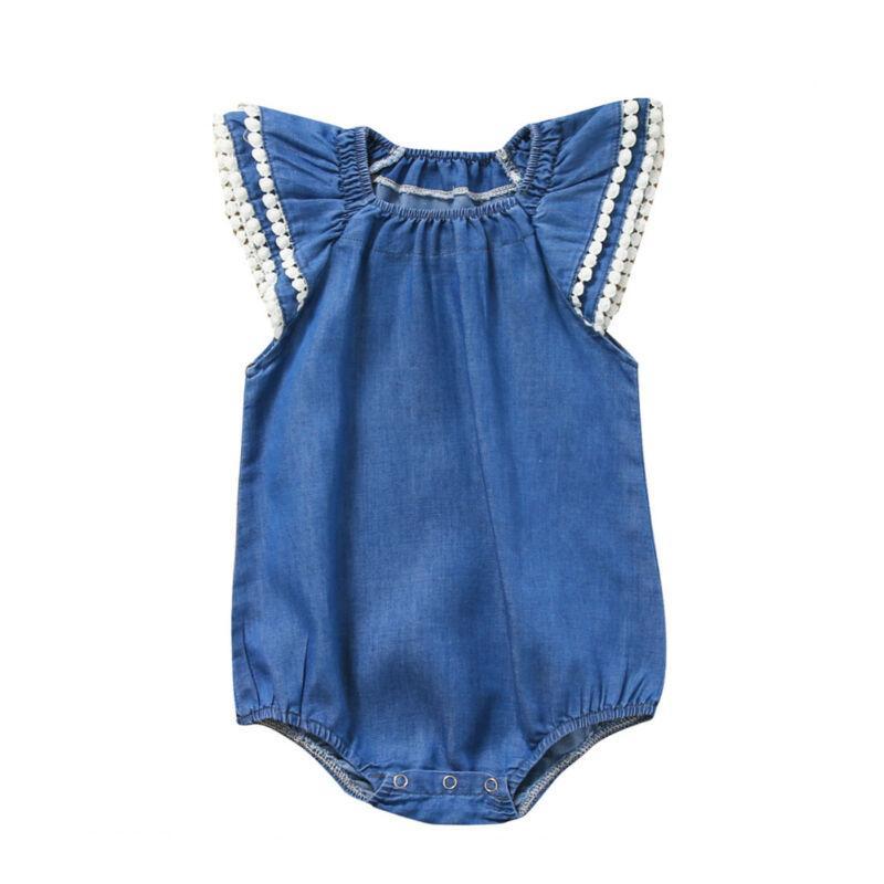 Infante recém-nascido Baby Girl Ruffle Sleevless Bodysuit Macacão One Piece sunsuit playsuit crianças meninas roupas de verão Roupa 0-24M