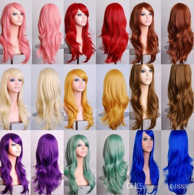 70 cm Gevşek Dalga Sentetik Peruk Siyah Kadınlar Için Cosplay Peruk Sarışın Mavi Kırmızı Pembe Gri Mor Saç