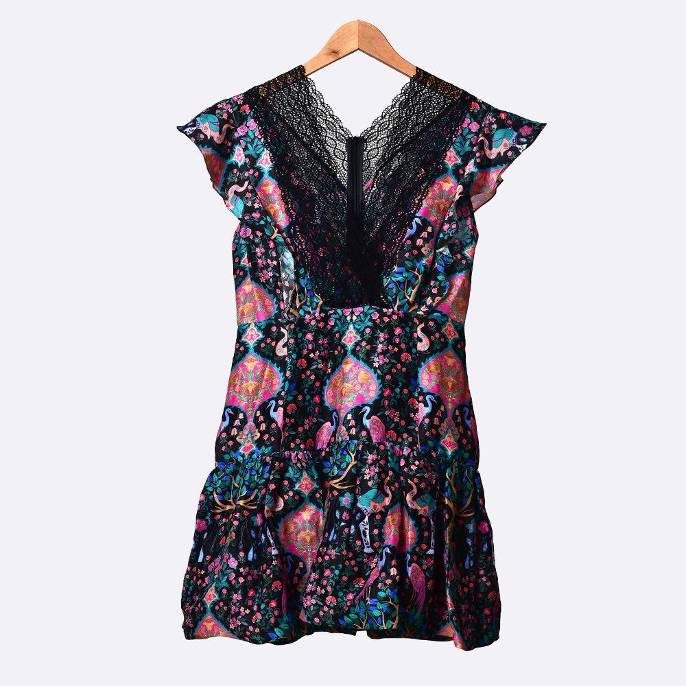2020 Printemps Eté manches col V noir imprimé floral Robe en dentelle courte lambrissé Mini Femmes Mode Robes W1815055