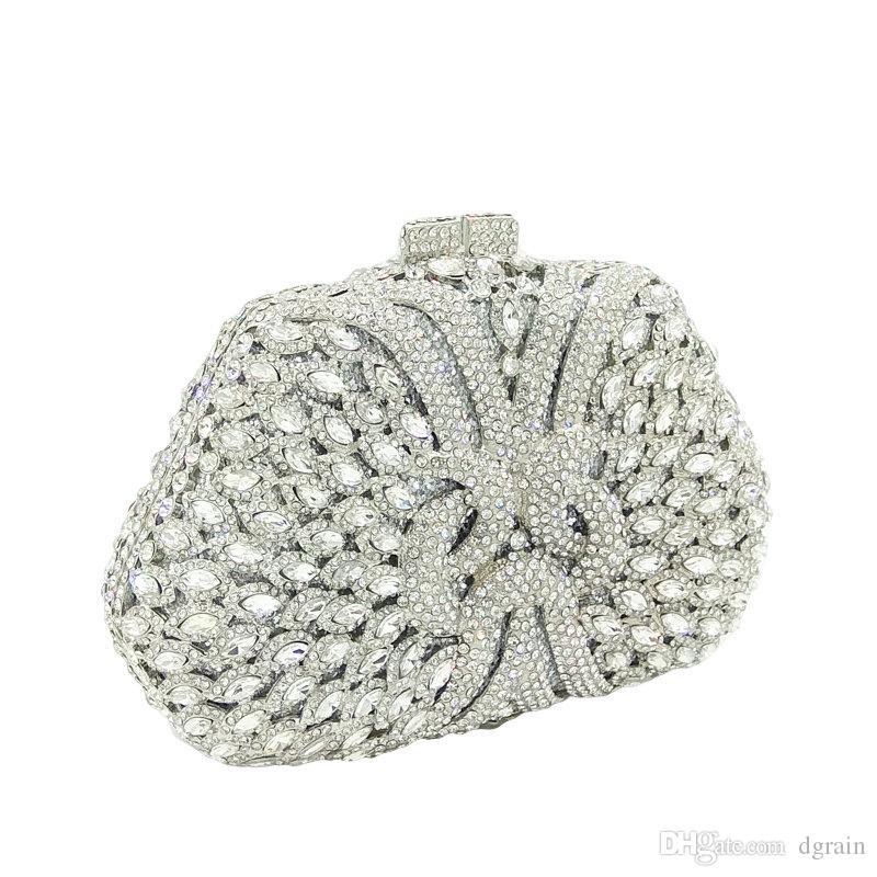 Dgrain europäischen und amerikanischen Kristall Clutch-Bag Frauen Hochzeits-Kupplungs-Geldbeutel-Abend-Partei-Mode-Hand Silber Abend Kupplungen